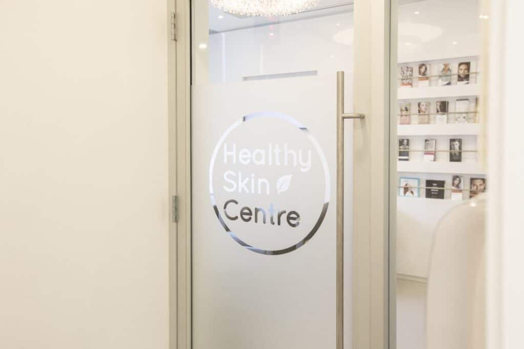 Glass Door With Logo, Healthy Skin Centre
